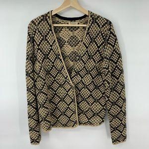 Lucky Brand Wool Blend Wrap Cardigan Sweater Brown